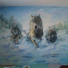 """Роспись стен """"Волки"""""""